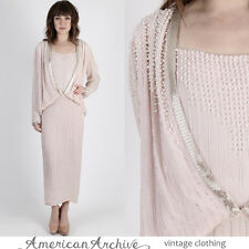 Vintage 80s Pearl Beaded Dress Wedding Cocktail Party Draped Deco Plunging Maxi