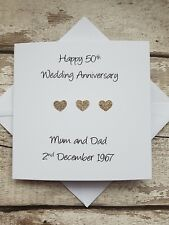 personalised golden 50th wedding anniversary handmade card