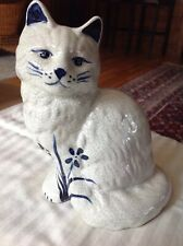 "Potting Shed Dedham Pottery Sitting Cat 8"" Tall White Crackle Glaze w/Cobalt"