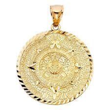 Solid 14K Gold Calendario Azteca Pendant EJCM31802