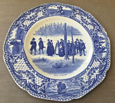 Flow Blue White Plate Dinner Colonial Times Crown Ducal England Crazed Chipped
