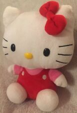 "Ty Beanie Buddies 2011 Sanrio Hello Kitty Plush Red Overalls Stuffed Animal 10"""