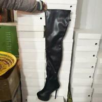 Plus sz Women Thigh High Boots Platform High Heels Boots Black Shoes Size 4-12