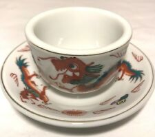 Antique Dragon Chinese Porcelain Tea Cup Saucer Hand Painted Signed White Orange