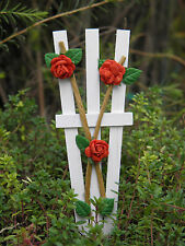 Miniature FAIRY GARDEN Accessories ~ Red Rose & White Wood Trellis ~ NEW