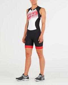 New 2XU Women Compression Trisuit SMALL Black Watermelon Triathlon Suit
