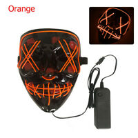 Halloween Scary Mask Cosplay Led Costume Mask EL Wire Light up Orange #ur