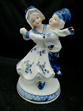 "VTG Dancing Dutch Children Figurine Blue White Details KPM Konigilch 6"" SECOND"