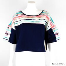 Roxy Sz L Sunset Navy Blue Loom Embroidered Boxy Crop Shirt Top
