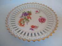 Antique Bavaria Floral Porcelain Reticulated Oval Serving Bowl