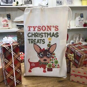 Personalised Dog Santa Sack - Chihuahua  - Tyson Design