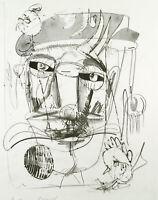 """DDR-Kunst """"doppelzüngig"""" 1985 Lithographie Wolfgang HENNE (*1949 D) handsigniert"""