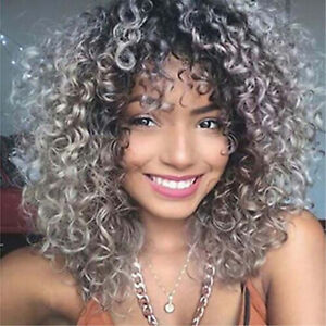 80s Rock Star Ombre Curly Bob Kinky Loose Wave Hair Fluffy Afro Halloween Wigs