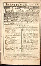 1756 LONDON MAGAZINE March/April AMERICAN PLANTATIONS WHALE FISHING OPIUM &c.