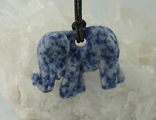 SODALITA elefante colgante perforadas aprox. 45 x 31mm con correa de cuero