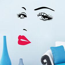 Women Face Eyes Sexy Lip DIY Vinyl Wall Sticker Decal Art Mural Home Salon Decor
