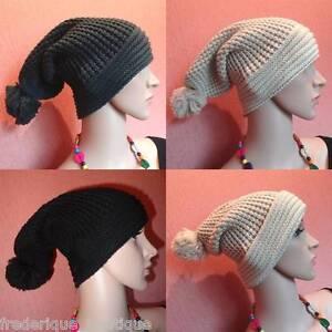 Bonnet Long tombant pompon Chapeau Mixte Look Tendance Hat Falling Tendance