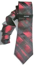 "NEW Mens Silk Tie ALFANI Black Red IRIDESCENT Stripe Plaid 58"" Long 3 1/4 T1398"