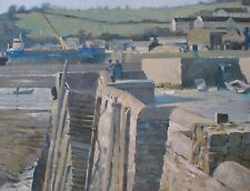 RARE Colin Allbrook R.I R.S.M.A Turner vainqueur Original Oil Winter Quay peinture