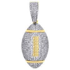 "10K Yellow Gold Real Diamond American Football Pendant 1.25"" Pave Charm 0.75 CT."