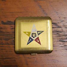 Vintage Dorset REX Order of the Eastern Star Freemason Brass Make Up Compact