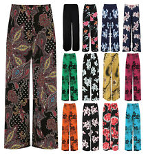 Womens PlusSize Floral Print Flared Wide Leg Palazzo Stretch Trouser Pants 12-26