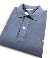 Lacoste Polo Shirt Men's Slim Fit Blue Neptune Chine Cotton Pique PH401200 4D3