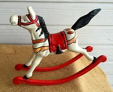Vintage Cast Iron Rocking Horse Door Stop - Circus Red and Magnificent!