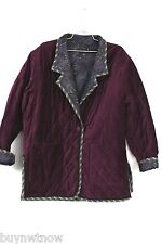 Koos Of Course Reversible Jacket Coat Purple Velvet/Quilted Paisley  Sz M