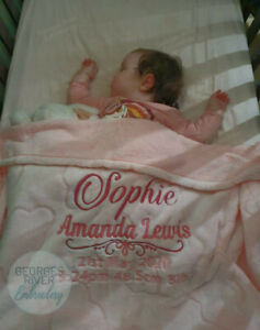 Personalized Baby Birth Record Embroidered Blanket - Pink Blue Grey