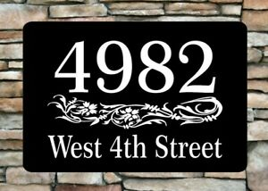 """Personalized Home Address Sign Aluminum 12"""" x 8"""" Custom House Number Plaque sq13"""