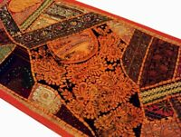"""40"""" ORANGE SPECTACULAR SARI IND DÉCOR BEADS SEQUIN WALL THROW HANGING TAPESTRY"""