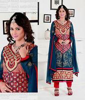 eaeea8ea99 DRKTEALBLUE GRGT INDIAN LONG SALWAR KAMEEZ SUIT DRESS MATERIAL w EMBR  LADIES DEN
