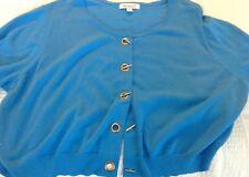 NEW Women's 2X  ROAMAN'S Blue Cropped Sweater 3/4 Sleeve Bust 56 Lgth 19 cute!