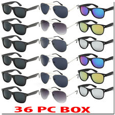 Wholesale Sunglasses Bulk Lot Aviators Wayfare Color Mirror 36 PC Box ALL NEW