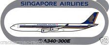 SINGAPORE AIRLINES A340-300E CELESTAR AIRLINE STICKER ~HIGHLY RARE~