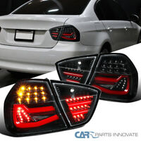 For BMW 05-08 E90 3 Series Sedan Pearl Black LED Tube Rear Tail Brake Lamps Pair