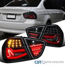 For BMW 05-08 E90 3 Series Sedan Pearl Black LED Tube Rear Tail Brake Lamps Pair