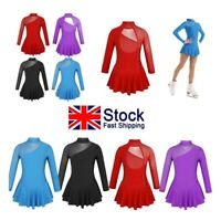 UK Kids Girls Figure Ice/Roller Skating Dress Gymnastics Ballet Leotards Costume
