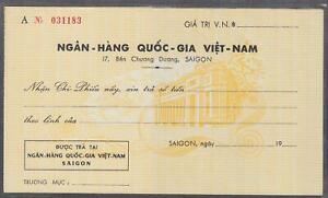 Vietnam South Unused Check From National Bank Of Vietnam