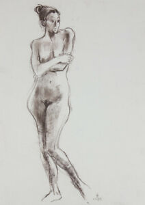EDMA - 1995 Graphite Drawing, Nude with Arms Crossed