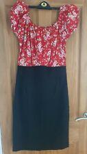 Ladies Red/blk Off Shoulder Dress 14/16