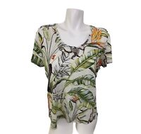 Ann Taylor Womens 100% Linen S/S Tropical Print Floral Tee Shirt Boho Top Large