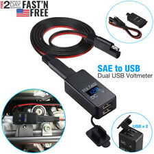 Motorcycle SAE to USB Cable Adapter Dual Port GPS Cell Phone Charger & Voltmeter