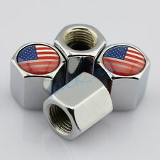 Silver Tyre Valve Dust Cap Hat Covers For US United States Flag Car Accessories