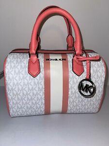 NWT Michael Kors Bedford Satchel Small Logo Stripe Handbag Grapefruit