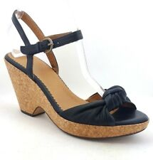 INDIGO by Clarks Women's Black Leather Knotted Cork Platform Wedge Sandals - 8