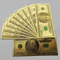 $100 dollar 10pcs 1:1 24k Gold Foil Golden USD Paper Money Banknotes Crafts