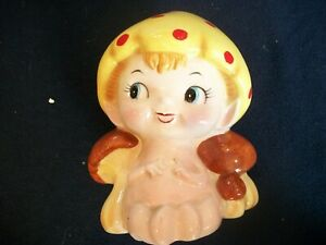 Japan NORCREST Mushroom Baby Girl Planter Polka Dot Cap 1950s Vintage