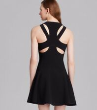 NWT DKNY DONNA KARAN Sz8 SCOOP NECK SLEEVELESS RACERBACK FLARE DRESS BLACK $395